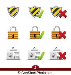 icona, serie, -, sicurezza