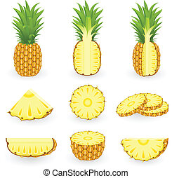 icona, set, ananas