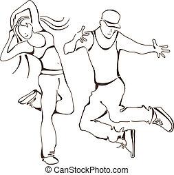 icona, set, ballo, hip-hop, persone