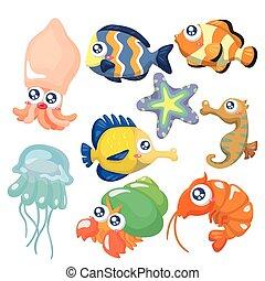 icona, set, fish, collezione, cartone animato