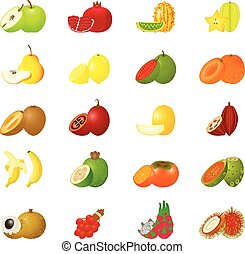 icona, set, frutte