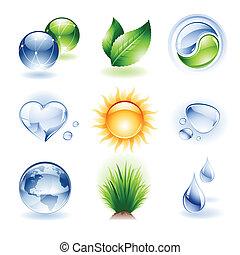 icona, set, -, natura