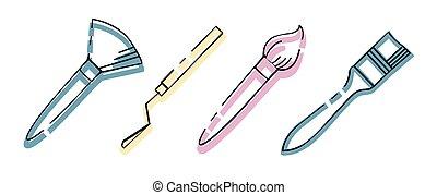 icona, set., tavolozza, attrezzi, artist., arte, knives., differente, accessories.., spazzole, shapes.