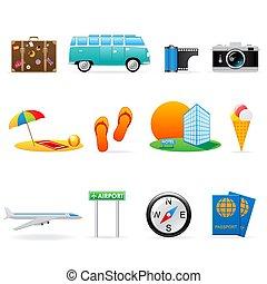 icona, set, viaggiare