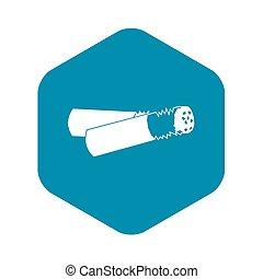 icona, sigaretta, stile, semplice, cicca