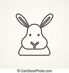 icona, simbolo, vettore, coniglio, segno