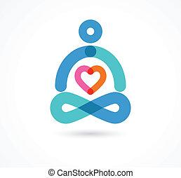 icona, simbolo, yoga, elemento