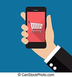 icona, smartphone, presa a terra, carrello, mano