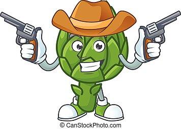 icona, sorridente, mascotte, carciofo, presa a terra, pistole, cowboy