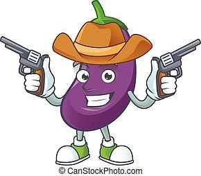icona, sorridente, mascotte, presa a terra, melanzana, pistole, cowboy
