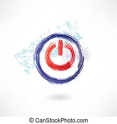 icona, spento, button., spazzola rossa