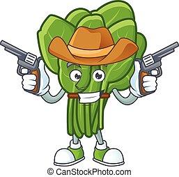 icona, spinacio, sorridente, mascotte, presa a terra, pistole, cowboy