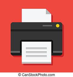 icona, stampante, vettore