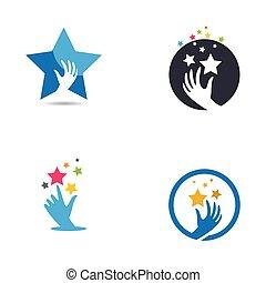 icona, stella, logotipo, prendere, vettore