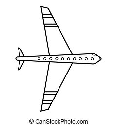 icona, stile, aereo, contorno