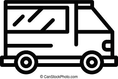icona, stile, ambulanza, contorno, veicolo