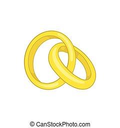 icona, stile, anelli accordo, cartone animato