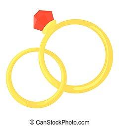 icona, stile, anelli, cartone animato, matrimonio