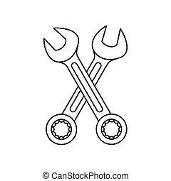 icona, stile, attraversato, contorno, wrenches