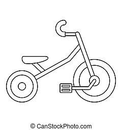 icona, stile, capretto, contorno, triciclo