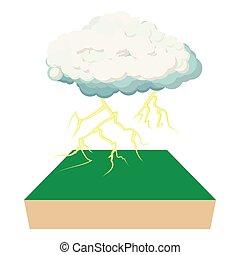 icona, stile, cartone animato, nuvola, lampo