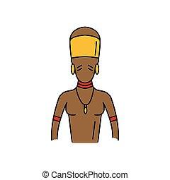 icona, stile, cartone animato, zulu, uomo