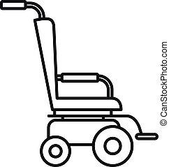 icona, stile, contorno, scooter, carrozzella
