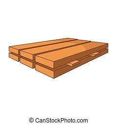 icona, stile, legna imbarca, cartone animato