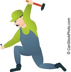 icona, stile, martello, carpentiere, cartone animato
