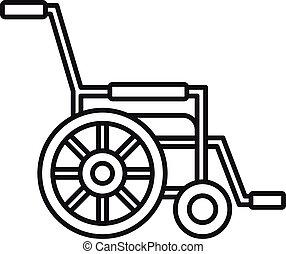 icona, stile, mobilità, contorno, carrozzella