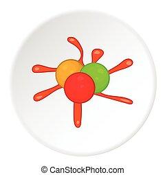 icona, stile, palle, paintball, cartone animato