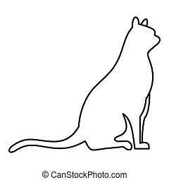 icona, stile, seduta, contorno, gatto
