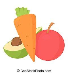 icona, stile, verdura, cartone animato, frutte