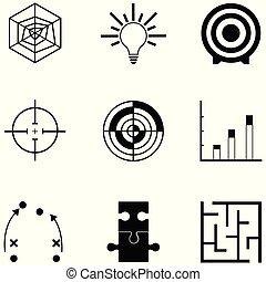 icona, strategia, set