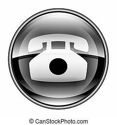 icona telefono, nero, isolato, bianco, fondo.