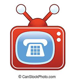 icona telefono, su, retro, televisione