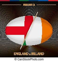 icona, torneo, rugby, nero, modellato, fondo., rotondo, 3, irlanda, inghilterra, palla, vs