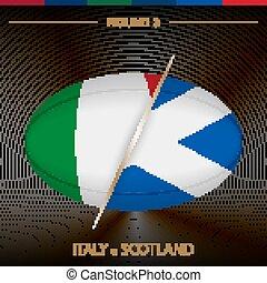 icona, torneo, rugby, nero, modellato, scozia, fondo., rotondo, 3, palla, italia, vs