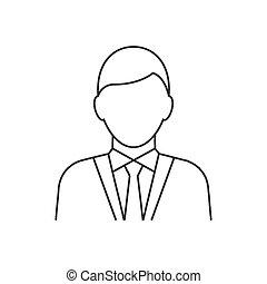 icona, uomo affari, fondo, linea bianca, avatar