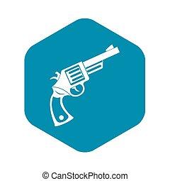 icona, vendemmia, stile, rivoltella, semplice