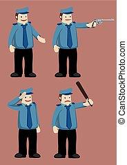 icona, vettore, cartone animato, ufficiale, polizia