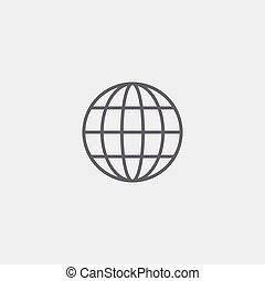 icona, vettore, globo