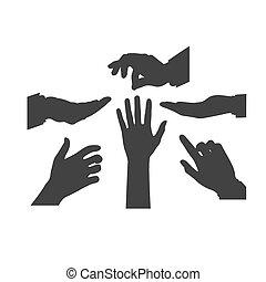 icona, vettore, mani