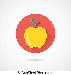 icona, vettore, mela
