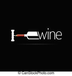 icona, vettore, silhouette, bottiglia, vino