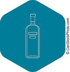 icona, vodka, stile, contorno, bottiglia
