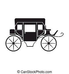 icon.black, isolado, vindima, branca, carruagem, ícone, fundo, vetorial
