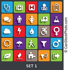 icone, 1, set, shadow., vettore, trendy