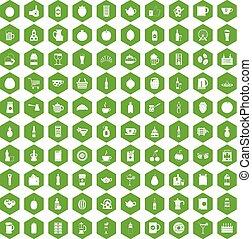 icone, 100, bevanda, verde, esagono