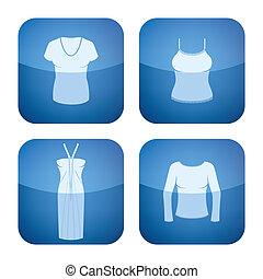 icone, 2d, quadrato, cobalto, abbigliamento, donna, set: